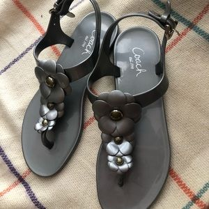 Coach Gray T strap flat sandals